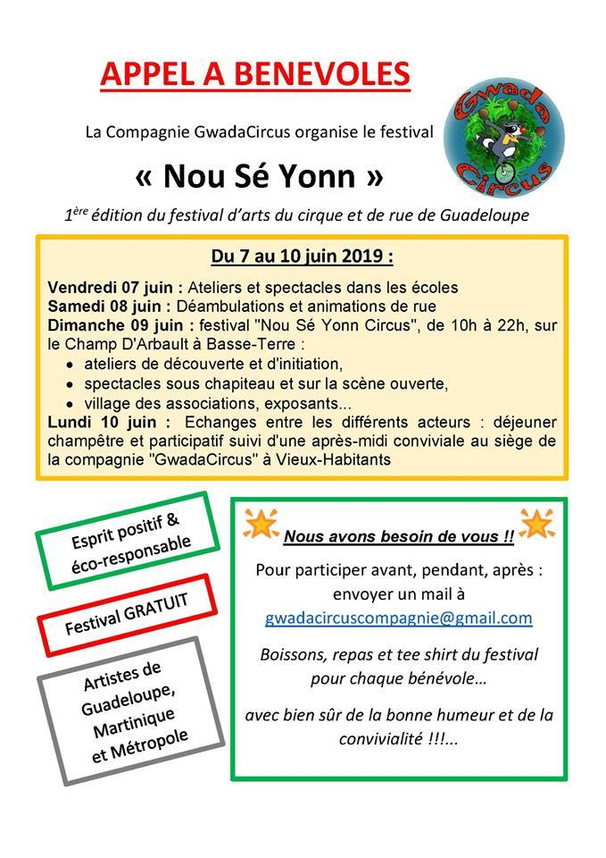 Appel à bénévole festival art de rue Nou Sé Yonn